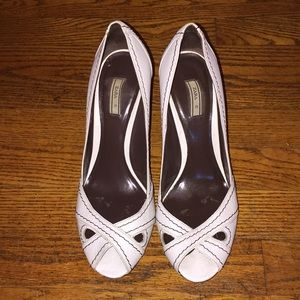 Zara White peep toe heels